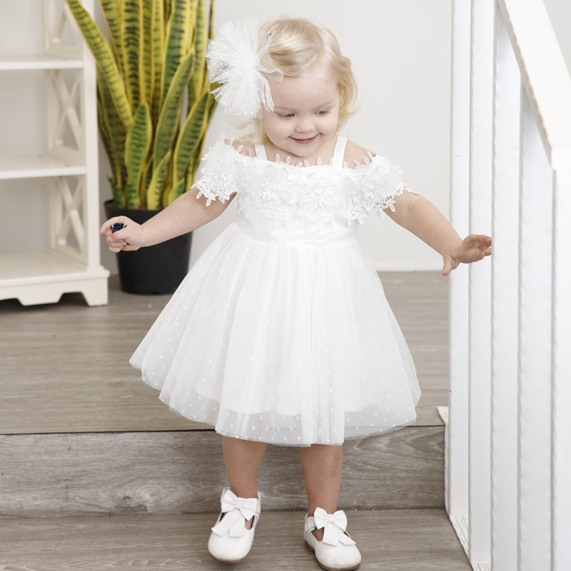 Baby Girl Dress Baptism Dress for Girl Infant 1-6 Years old Birthday Strapless Baby Chirstening Party Dress Kids Summer Clothing