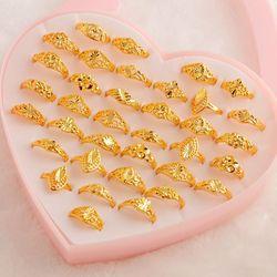 Mydaner anéis de estilo misto dourado, elástico feminino de estilo misto, dourado, vintage, para festa de casamento unidades/lotes