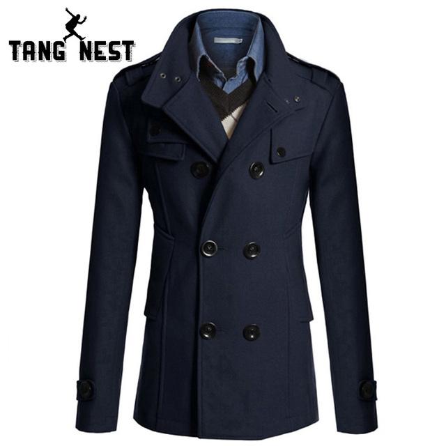 Tangnest 2017 nueva llegada ocasional de la manera larga trinchera abrigo masculino 4 colores sólidos chaqueta de los hombres de doble botonadura abrigo largo delgado mwf344