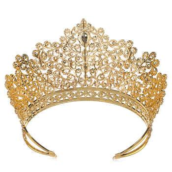 Hadiyana Luxury Princess Jewelry Tiaras and Crowns Headband New Love Bridal Big Wedding Hair Accessories Crown For Women HG6010