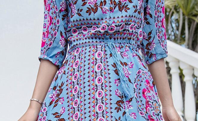 Longue Bleu Coton D'été Mode Nouvelle Vent Femmes National 3xl Chaude Plage 2019 S Soie ORzwaPqS