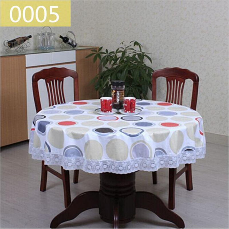 Exceptional 1Pcs Rural Style PVC Thickening Round Tablecloth Lace Printing Tablecloth  Waterproof And Oil Table Cloth Tea