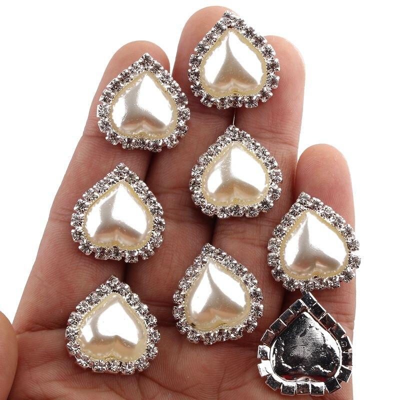 10 шт. 21 мм x 23 мм сердце белый искусственный жемчуг Кнопка Flatback украшение со стразами Пуговицы для Свадебные украшения