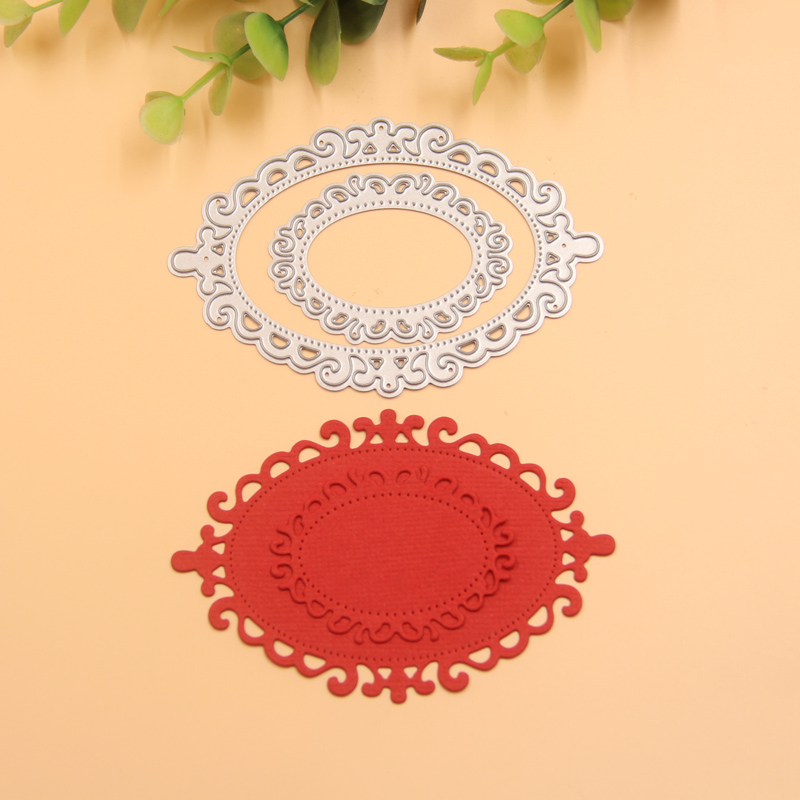 ̀ •́ Kljuyp pintado metal oval Recortes de papel plantillas para DIY ...