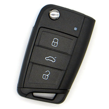 WhatsKey 3 Button Flip Remote Cover Folding Key Shell Fob Case For Volkswagen Golf 4 7 Polo MK7 Skoda Octavia A7 Sear Leon