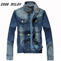 ZOOB MILEY Casual Mens Jean Jackets Long Sleeve for Autumn Spring Blue Solid Denim Coats Plus Size M-3XL Male Fashion Jeans