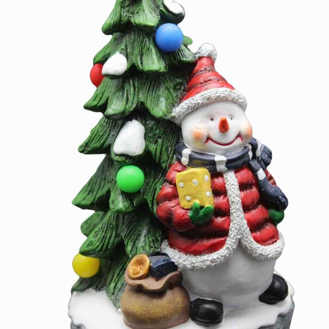 personalised hand painted resin christmas tree with snowman and rgb light up music collectible christmas ornament