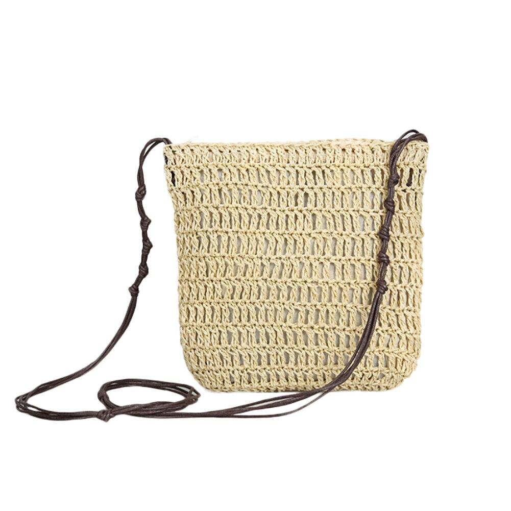 Bohemia Rattan Plaited Knots Strap Zipper Closure Shoulder Bag Women Pouch Purse