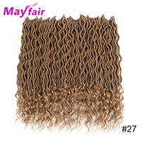 MAYFAIR 18inches 6packs Goddess Faux Locs Curly Crochet Hair 70g/Pack Synthetic Ombre Braids Crochet Braiding Hair Extensions