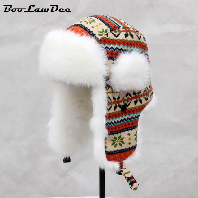 BooLawDee High quality snow warm adult floral kitting bomber hats winter for lady and women with ear flaps 56cm 58cm 60cm 4A440