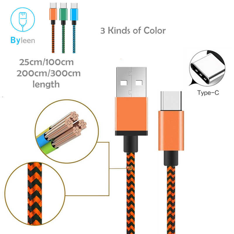 Byleen naranja/azul/Verde línea USB tipo C cargador de datos de carga rápida para Samsung Galaxy S8 S9 a5 A7 2017 A320F A520F A720F