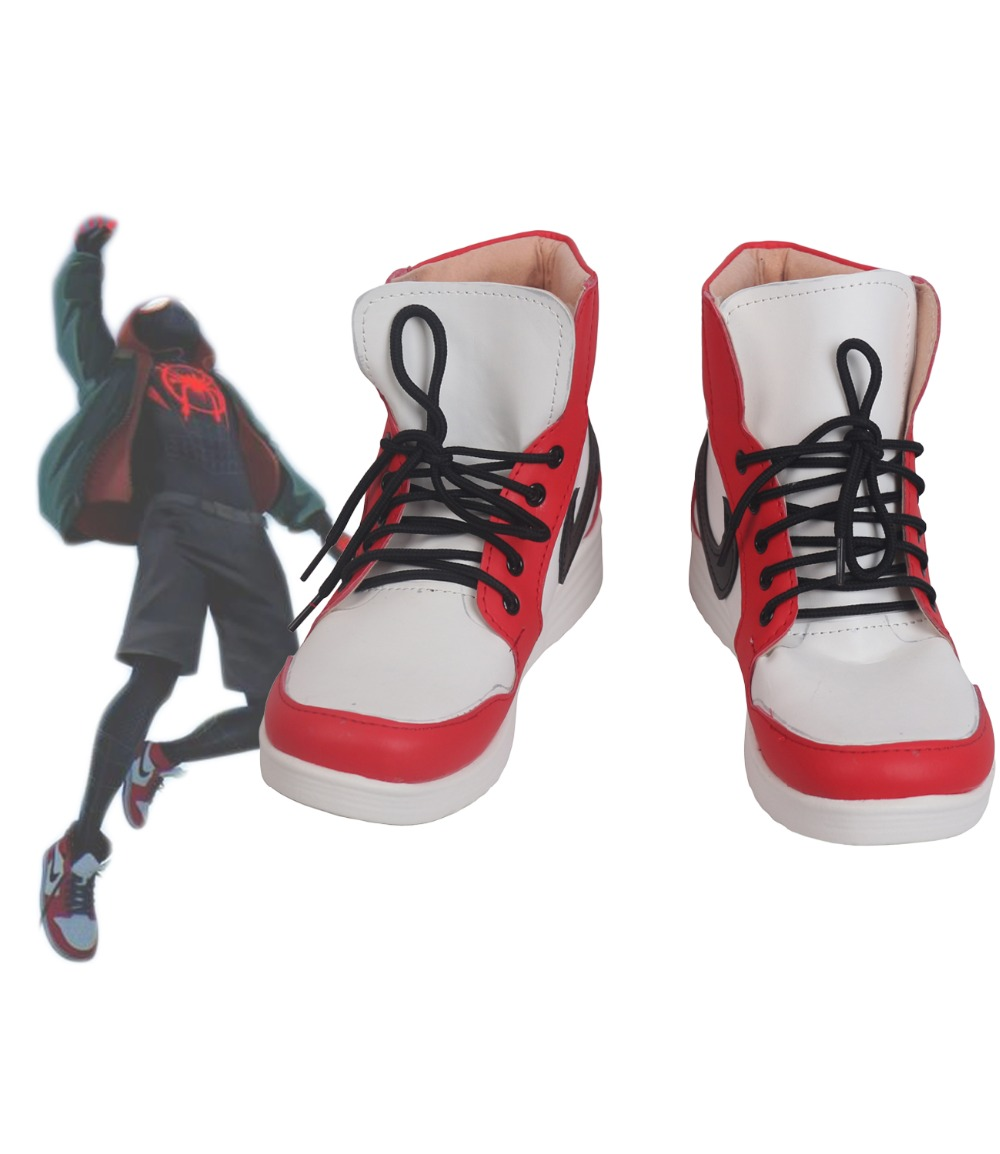 Spider Man Into the Spider Verse Miles Morales Cosplay Boots Shoes Custom Made