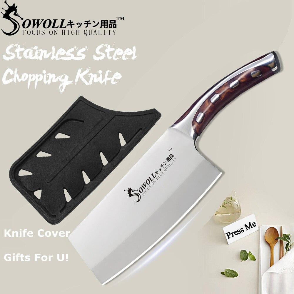 SOWOLL 4CR14 cuchillo de cocina de acero inoxidable 7 pulgadas cuchillo de corte accesorios herramientas cuchillo de cocina chino cuchillo de Chef-cuchilla de cuchilla