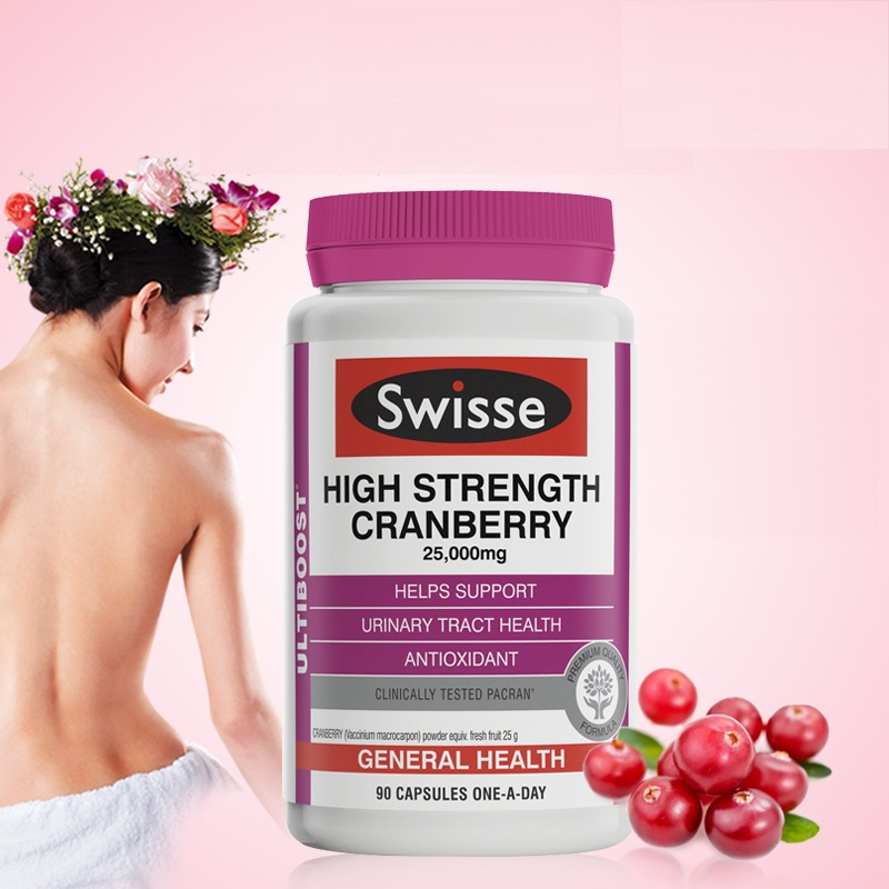 Australia Swisse Cranberry 90 Capsules Support Urinary Tract Health Symptomatic Relief Recurrent Cystitis Frequent Urination