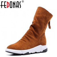 FEDONAS Top Quality Fashion Mid Calf Boot Suede Genuine Leather Women Wedges Heels Boots Zipper Winter