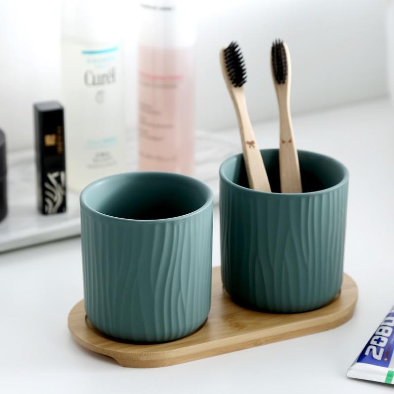 Nordic Mug Cups Set Dumb Light Wood Bottom Originality At Home Ceramics Gargle Cups Bathroom Set Accessories Toothbrush Holders