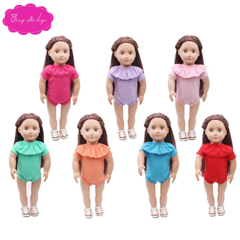 18 inch Meisjes pop badpak Leuke rompertjes en badpakken Amerikaanse pasgeboren Jurk Baby speelgoed fit 43 cm babypoppen c227-c278