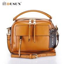 DUSUN Marke Frauen Messenger Taschen Aus Echtem Leder Taschen Frauen Echt Leder Beiläufige Handtaschen Crossbody taschen Vintage Reißverschluss Frauen Tasche