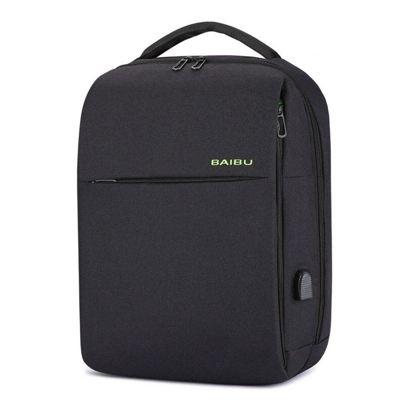 BUG Brand Casual Men Backpack Fashion Student Backpack for Teenagers Large Travel 15.6'' Laptop Bagpack Bags Black USB Backpacks роллерсерф jd bug rt 03 caster cruiser black