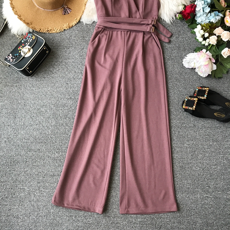 ALPHALMODA 2019 Spring Ladies Sleeveless Solid Jumpsuits V-neck High Waist Sashes Women Casual Wide Leg Rompers 16