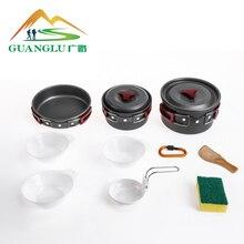 Набор посуды для кемпинга, походная посуда, набор для приготовления пищи, походная посуда, столовые приборы, походный набор для пикника
