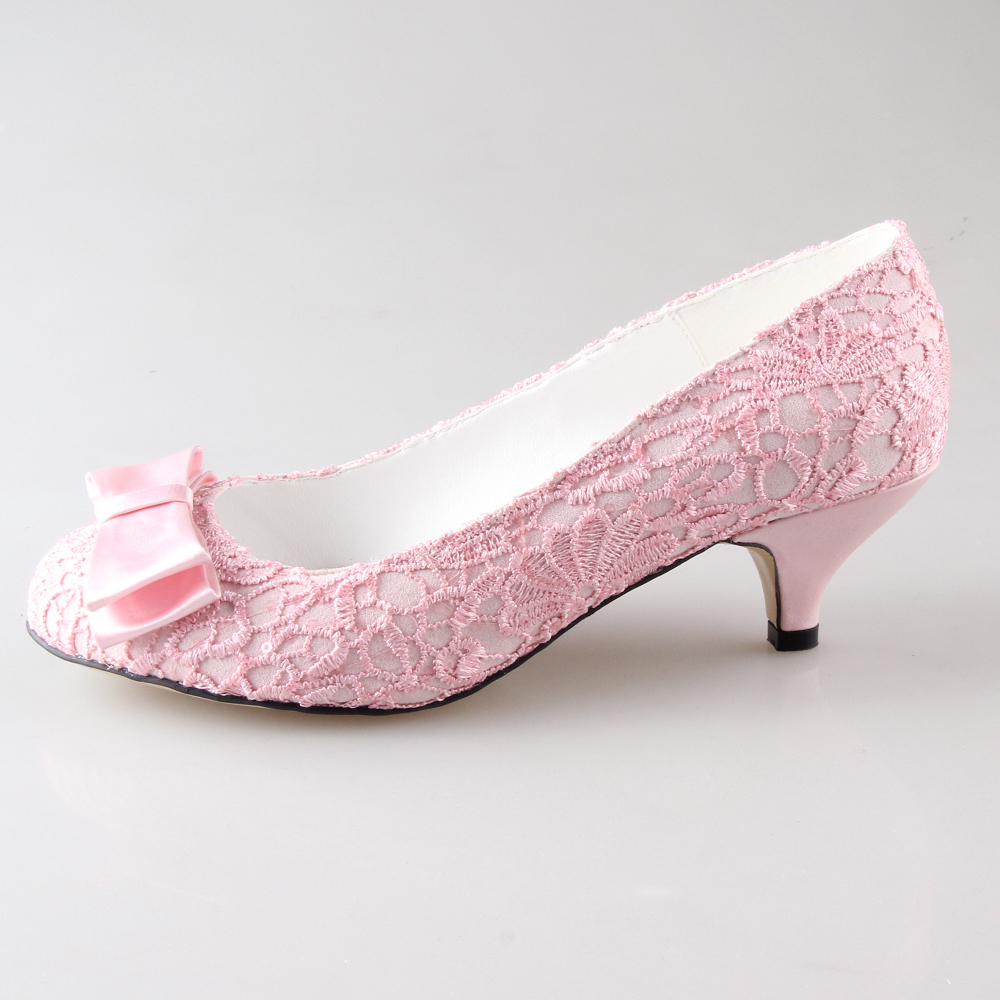 Creativesugar Handmade sweet pale light pink lace bow bridal shoes ...