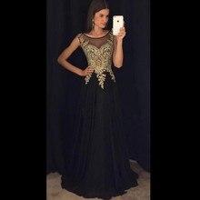 2017 elegante Abendkleider Scoop Neck A-linie Ärmellose Bodenlangen Appliques Chiffon Abendkleider Vestidos De Noiva