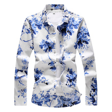 2019 Summer Fashion Floral Printing Mens Shirt Casual Slim Fit Long sleeves Clothing Flower Shirts Tops S-7XL