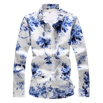 2019 Summer Fashion Floral Printing Mens Shirt Casual Slim Fit Long sleeves Clothing Flower Shirts Tops S-7XL