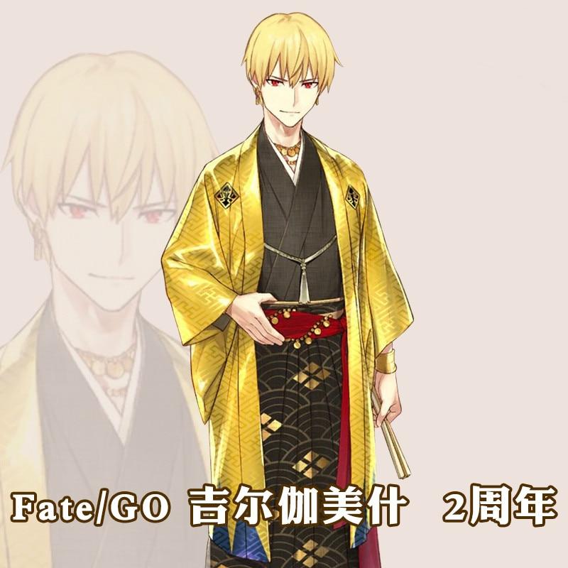 Cos Fate/Grand Order Gilgamesh  Cosplay Costumes 2nd Anniversary Caster Kimono Cosplay Costume FGO