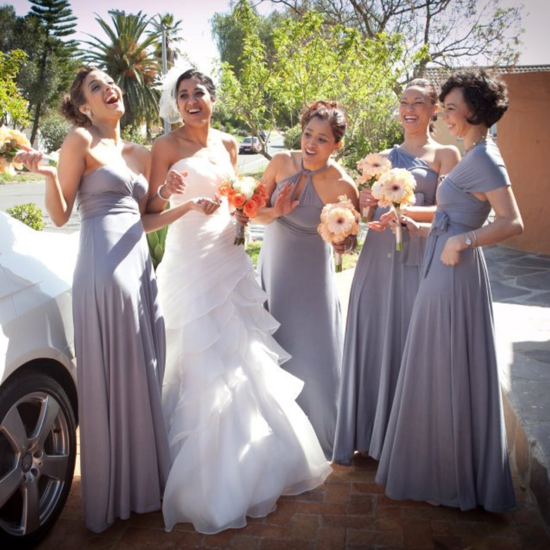 Infinity Bridesmaid Dress Grey Long Multiway Dress Sliver Grey Wrap Maxi Dress Convertible Dress With Halter Styles