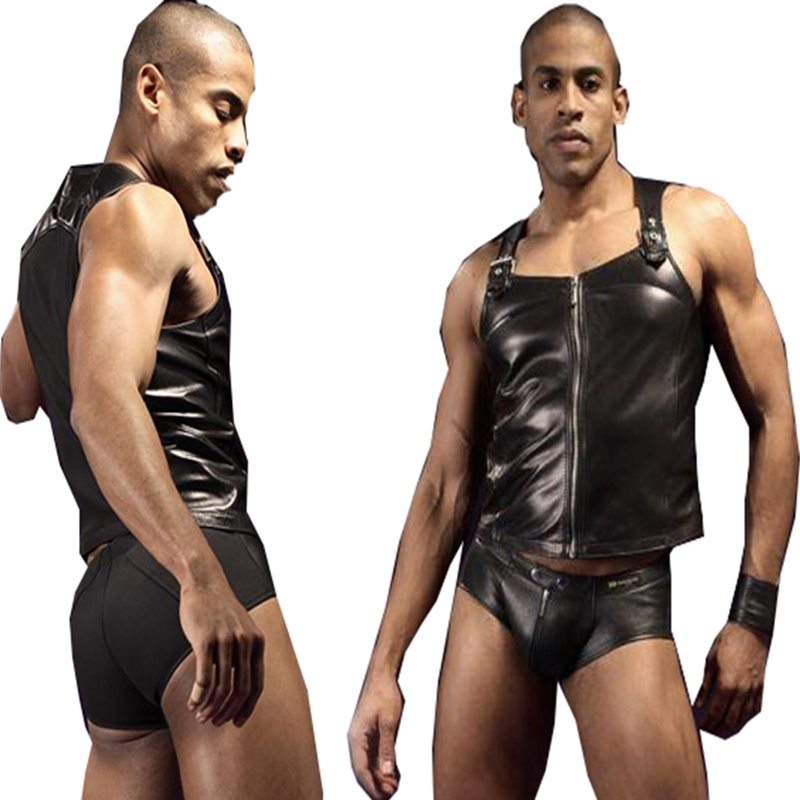 New Sexy Vinyl Leather Tank Tops and Panties <font><b>Gay</b></font> Fetish German SM Sexy Costime <font><b>Lingerie</b></font> <font><b>Set</b></font> Erotic Club Wear <font><b>Lingerie</b></font> Promo image