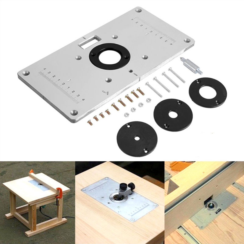 Router Table Insert Plate Woodworking Benches Aluminium Wood Router Trimmer Models Engraving Machine with 4 Rings Tools new woodworking diy tools heavy duty router lift with aluminium router insert plate jf1168