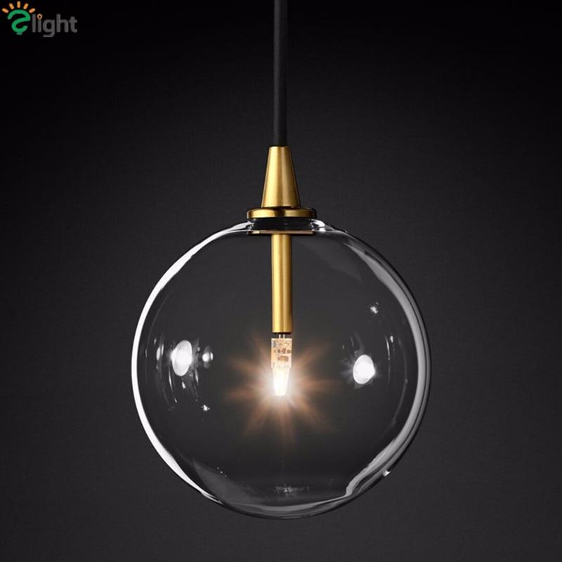 1 Light Clear Glass Globe Led G4 Lustre Luminaires Pendant Lights Simple Nordic Gold Metal Hanging Lamp Dining Room Droplight