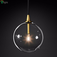 1 Light Clear Glass Globe Led G4 Lustre Luminaires Pendant Lights Simple Nordic Gold Metal Hanging Lamp Dining Room Droplight