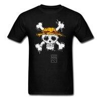 Men's Anime T Shirt One Piece skull Straw Hat Printing Cotton Round Collar Tee Shirt High Quality Male Teenage Tee Shirts