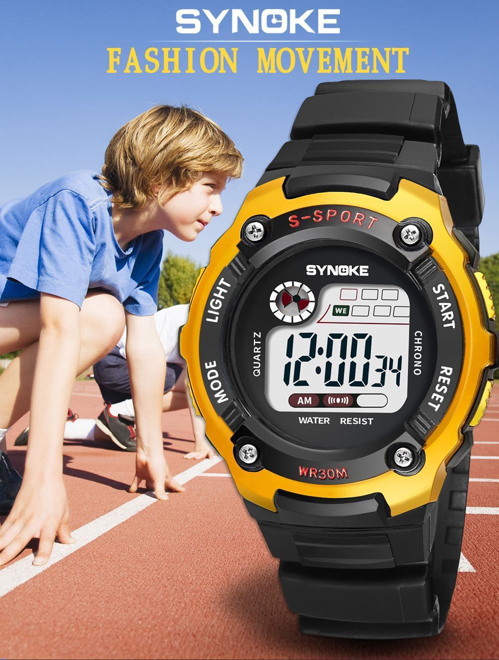 SYNOKE Children Electronic Digital Watch Waterproof Rubber Strap Students Sports Style