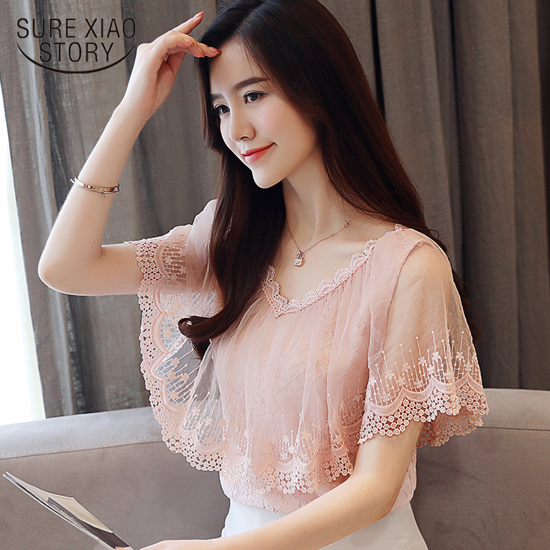 New 2018 Women Tops and   Blouses   Summer Lace   Blouse     Shirt   Fashion Women   Blouses   Short Sleeve Lace Top Blusa Feminina 0788 30