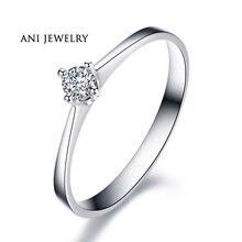 ANI 18K White Gold (AU750) Women Wedding Ring 0.1 CT Certified I-J/SI Solitiare Round Cut Real Diamond Ring Jewelry Customized