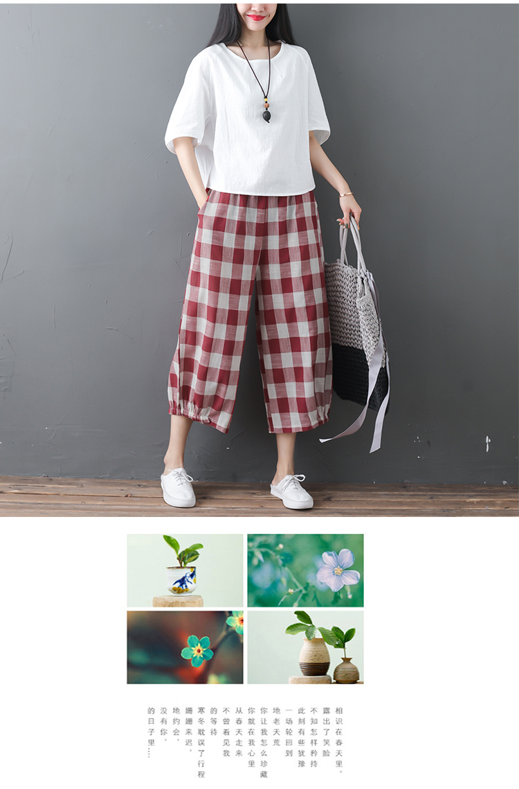 2019 Cotton Linen Two Piece Sets Women Plus Size Half Sleeve Tops And Wide Leg Cropped Pants Casual Vintage Women's Sets Suits 55