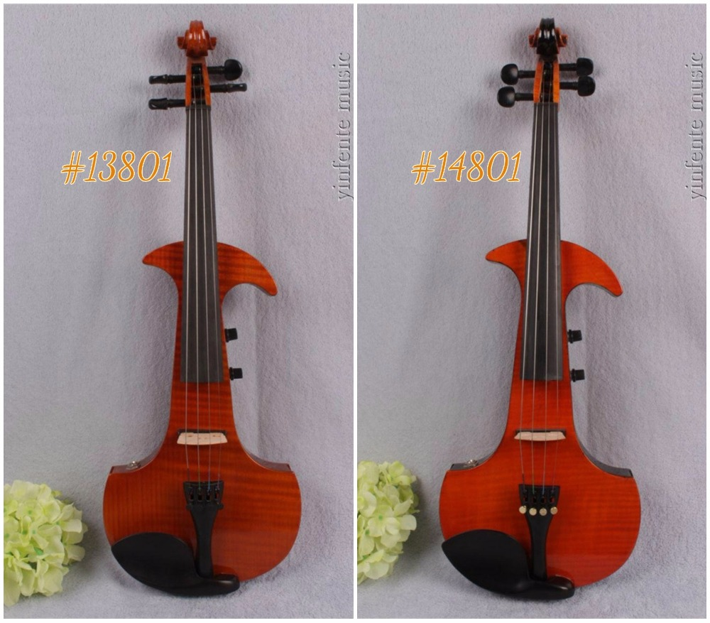 #13801# New 4 string 4/4 Electric violin Solid wood hand add fret electric violin one 4 string 4 4 violin electric violin acoustic violin maple wood spruce wood big jack green color