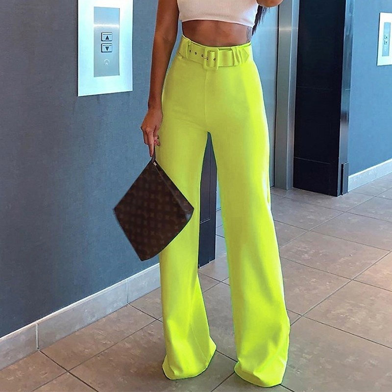 Belt Buckle   Wide     Leg     Pants   High Waist Fashion Bottom Straight Long   Pants   Elastic Neon 2019 Lady Work Out Office Women Trousers