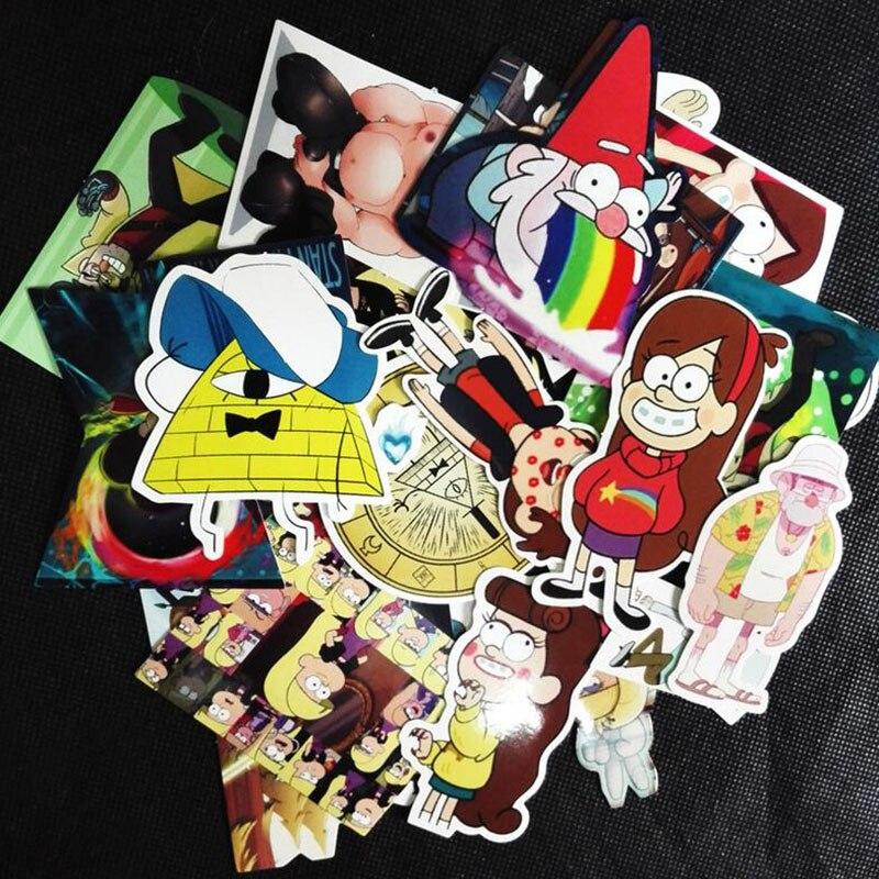 25 pcs /Lote Fun Anime Gravity Waterfall Waterproof Luggage Tag Laptop Skate Motorcycle Decal Diy Children Stickers