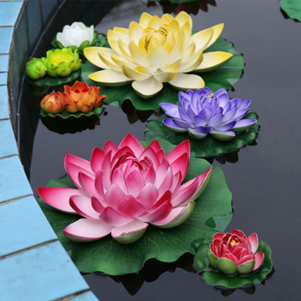 1 Unids Daudzkrāsains Lotus Flower Mākslīgā zālāja Akvārija dekorēšana Zivju tvertnes ornaments Ūdens augu simulācija