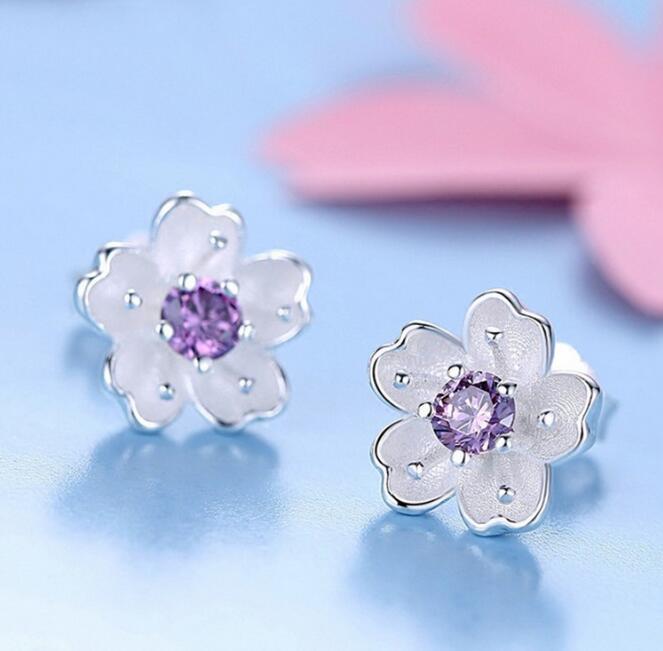 SMJEL Nueva Moda Purple Crystal Cherry Blossom Flower Stud Pendientes - Bisutería