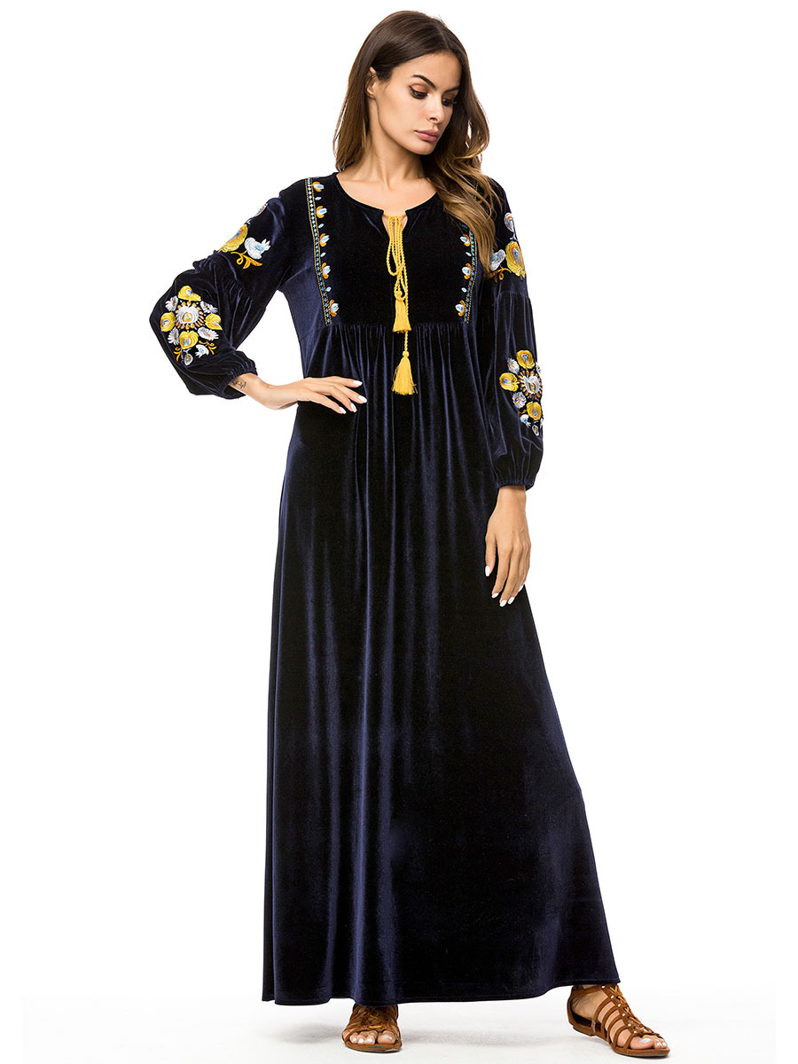 2019 Autumn Islamic Dress Abaya Muslim Moroccan Kaftan Arabic Robe Musulmane Velvet Long Sleeve Turkish Caftan Dubai Arab 7234