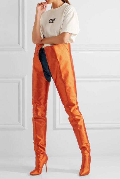2017 nieuwste vrouwen mode taille laarzen sexy puntschoen dames naaldhak laarzen sexy oranje lederen vrouwelijke partij hoge hak laarzen