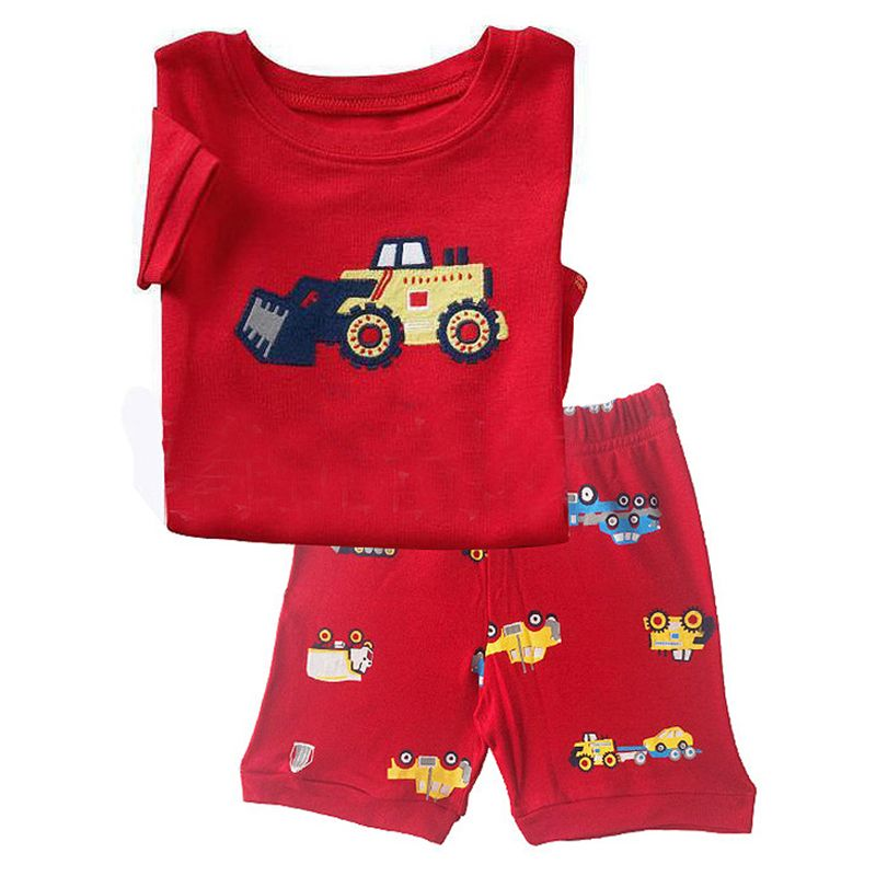 FANCYINN summer children kids pajamas short sleeve cotton girls boys clothes sets suits outfit cartoon pattern baby clothing pjs