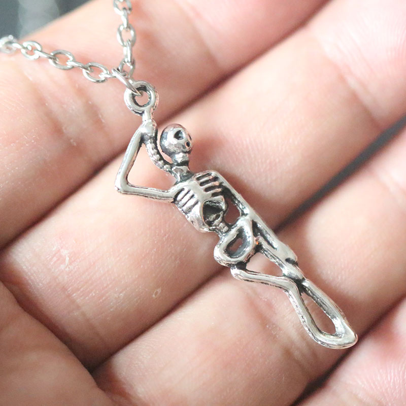 Gothic Necklaces Medical Skeleton Pendant Necklace For Women Christmas Gifts Vintage Silver Charms Bijoux Jewelry Choker in Pendant Necklaces from Jewelry Accessories