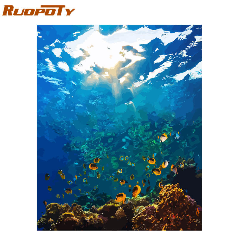 RUOPOTY Frame Sea World DIY Oil Painting By Numbers Kits Acrylic Paint On Canvas Unique Gift For Home Decor 40x50cm Artwork Gift|Painting & Calligraphy| |  - title=